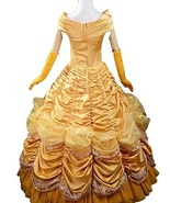 beauty and the beast costume Princess Cosplay Costume Yellow Dress Gown - £112.66 GBP