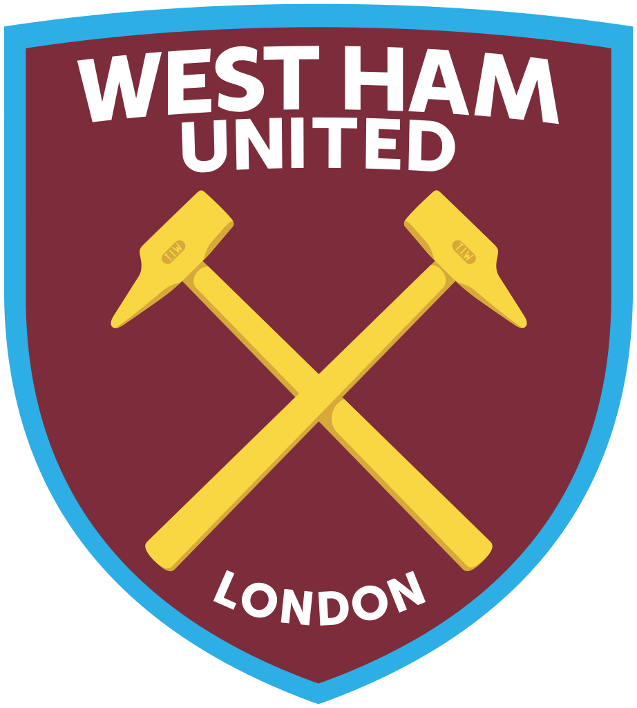 West Ham United FC vinyl sticker shaped contoured football 120mm x 108mm