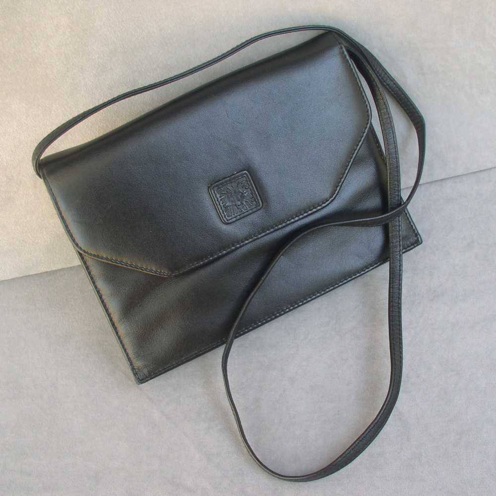 Handbag Ann Klein Black Genuine Leather Convertible Clutch