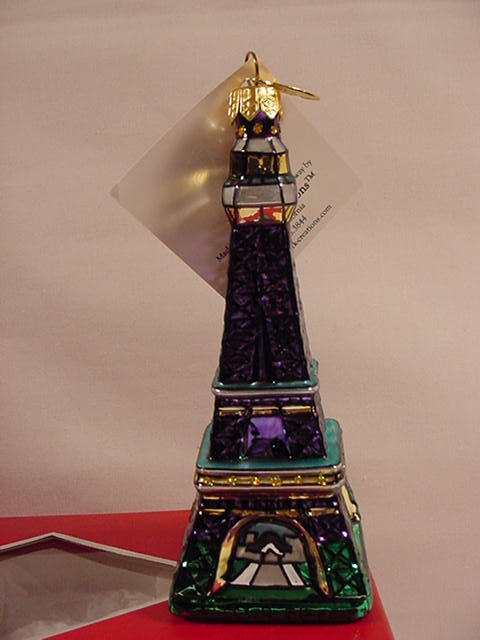 Landmark Creations La Tour Eiffel Tower Handcrafted Glass Christmas Ornament New
