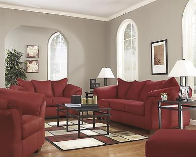 Ashley Darcy Living Room Set 3pcs in Salsa Upholstery Fabric Contemporary Style