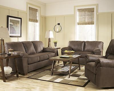 Ashley Amazon Living Room Set 3pc in Walnut Upholstery Fabric Contemporary Style