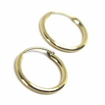 18K YELLOW GOLD ROUND CIRCLE HOOP SMALL EARRINGS DIAMETER 12.5mm x 1.2mm, ITALY image 2