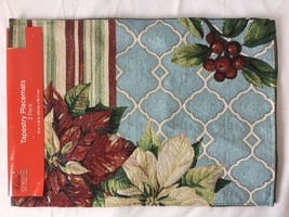 2 Pack Tapestry Placemats Christmas Poinsettias Glitter 13 x 18 - $14.95
