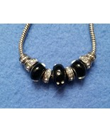 Silvertone Pandora-style Bracelet with Black an... - $12.99