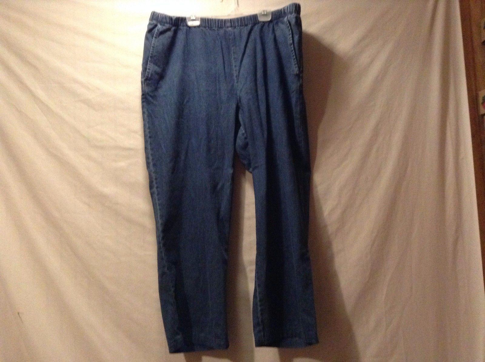Used Great Condition Orvis XLP 100% Cotton Elastic Waist Blue Jeans