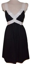 BCBG Max Azria 100% Cotton Black/White French Dot Dress Sz S Small 4-6 - $19.99