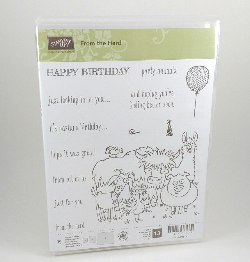 Primary image for Stampin Up FROM THE HERD Happy Birthday Card Photopolymer Stamp set