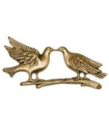 Brass Kissing Doves Applique for Round Cremation Urn, Pewter Also Available - $69.99