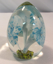Vintage Art Glass Paperweight  w/ Blue & White ... - $28.00