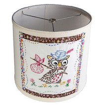 Adorable Vintage Embroidered Owl Fabric on New Lamp Shade - Free Shipping - $37.40
