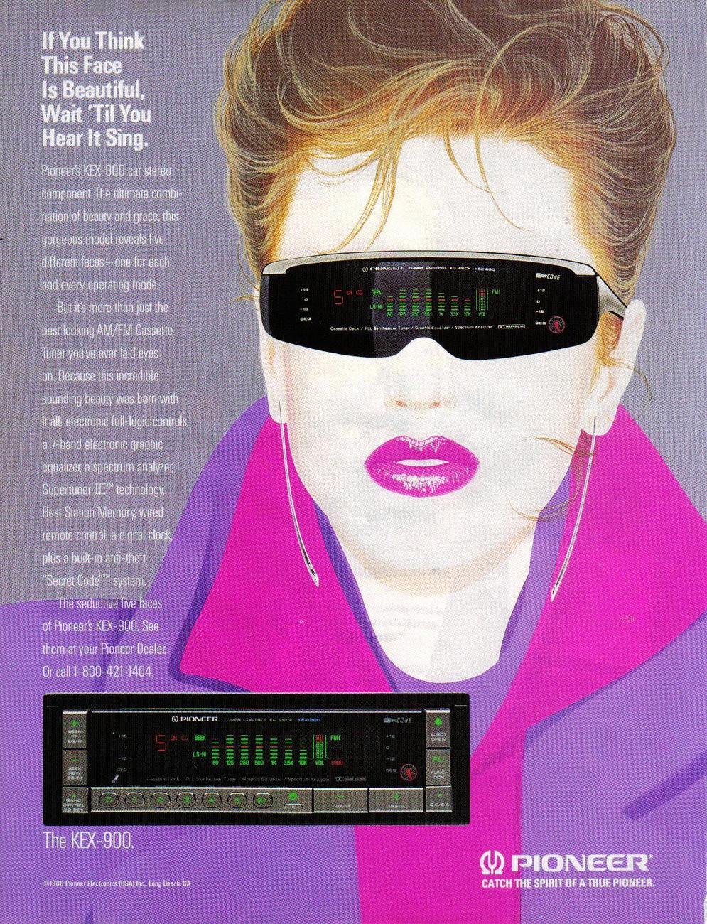 Pioneer 1988 Print Ad If You Think This Face is Beautiful, Wait 'Til You Hear It