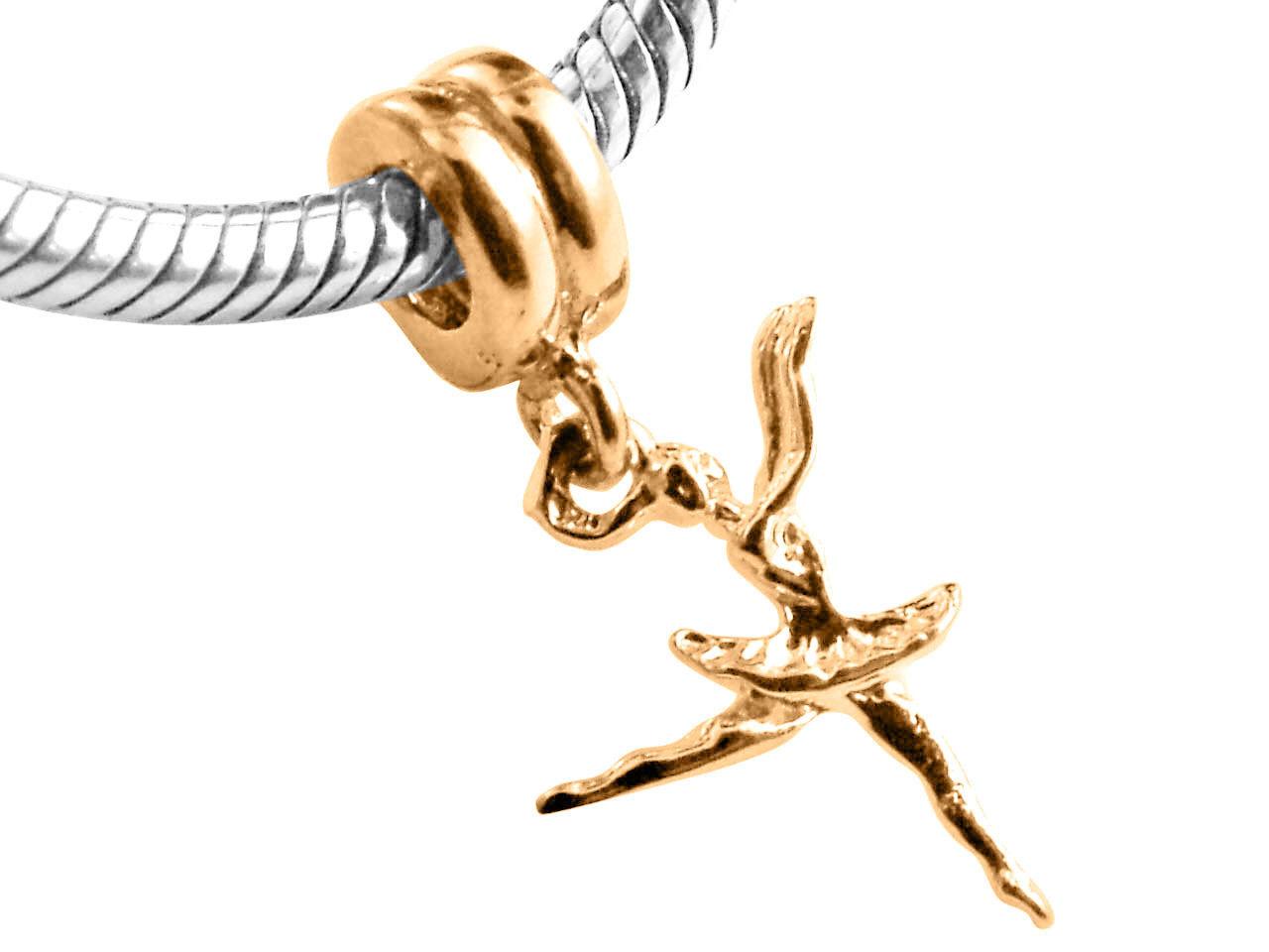 10K Yellow GOLD Handmade Ballerina Dangle Charm Fits EUROPEAN BRACELETS