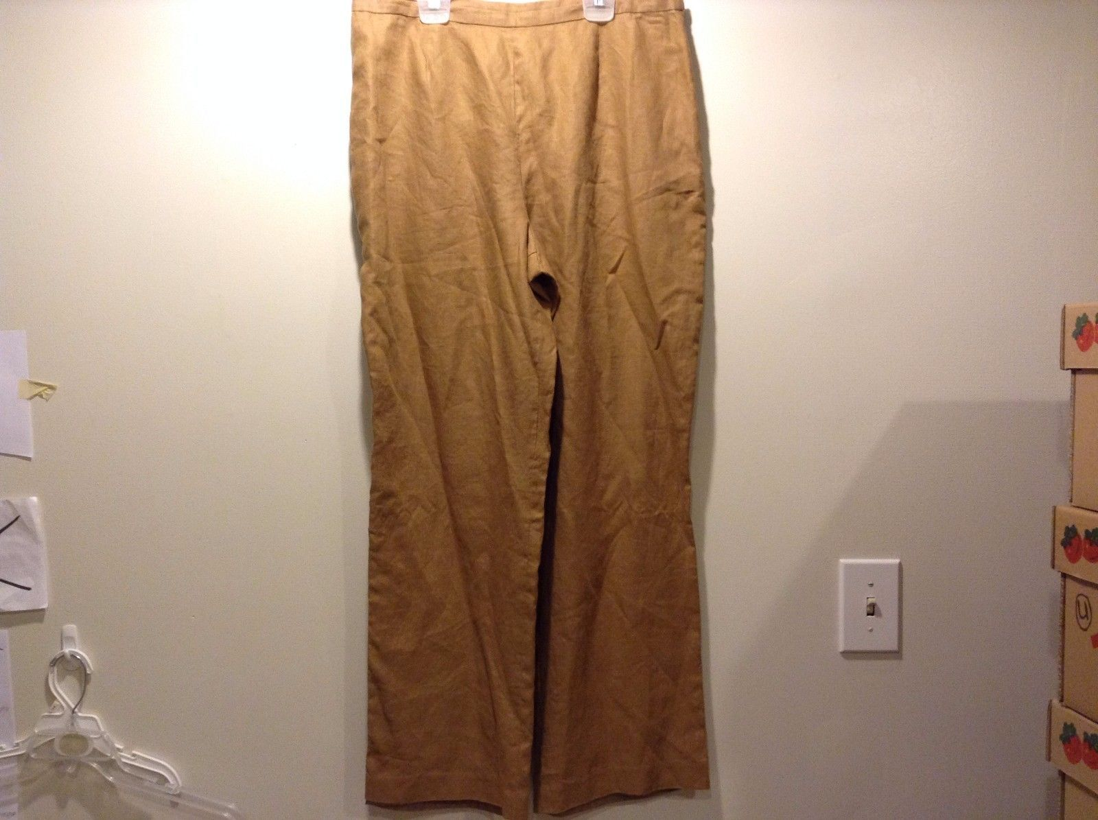 Used Great Condition JG Hook 16 Tan Pants Side Button and Zipper Linen Polyester