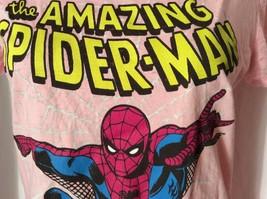 Marvel Comics Spiderman Juniors Top M L T Ladies Distressed Shirt pink - £5.75 GBP