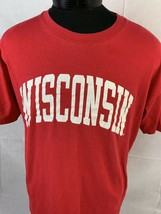 Vintage Wisconsin Badgers T Shirt Single Stitch Tee USA NCAA Bucky XL 80... - $24.99