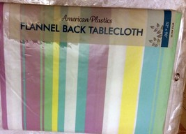 "RARE FLANNEL BACK VINYL TABLECLOTH 52""x 90"",(6-... - $14.95"