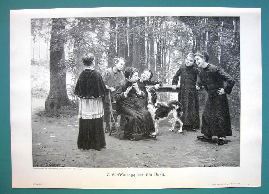 CHOIR BOYS Have Fun Church Yard Duet Dog & Flute - VICTORIAN Era Print