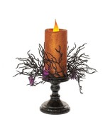 "Halloween Lighted LED Orange Candle Purple Spiders Candlestick 13.25"" H - $34.95"