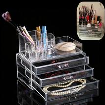 Acrylic Makeup Organizer Storage Box Case Cosmetic Jewelry 3 Drawer Case... - $59.19