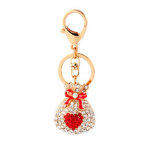 Crystal Rhinestone Metal Love Heart Lucky Bag K... - $11.57