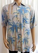 85d64e978 Puritan Grey with Blue Coconut Trees Medium Hawaiian Shirt Aloha - $14.99