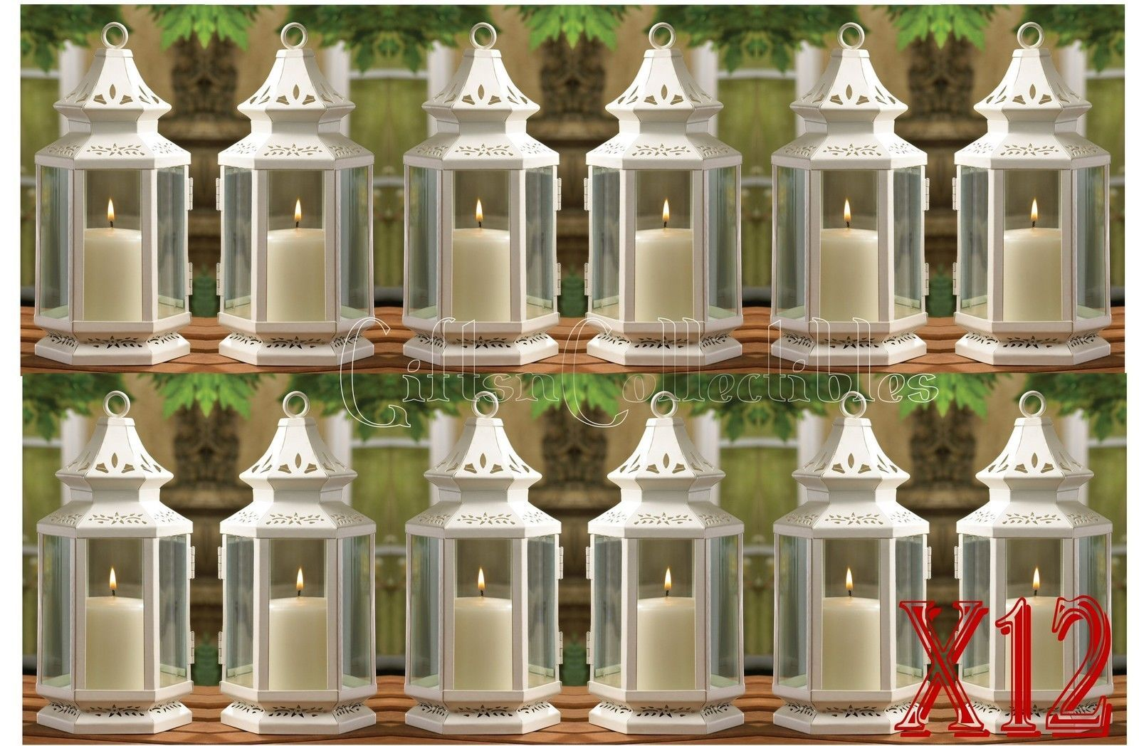12 Medium White Victorian Style Candle Lanterns Wedding Events Centerpieces 10.5