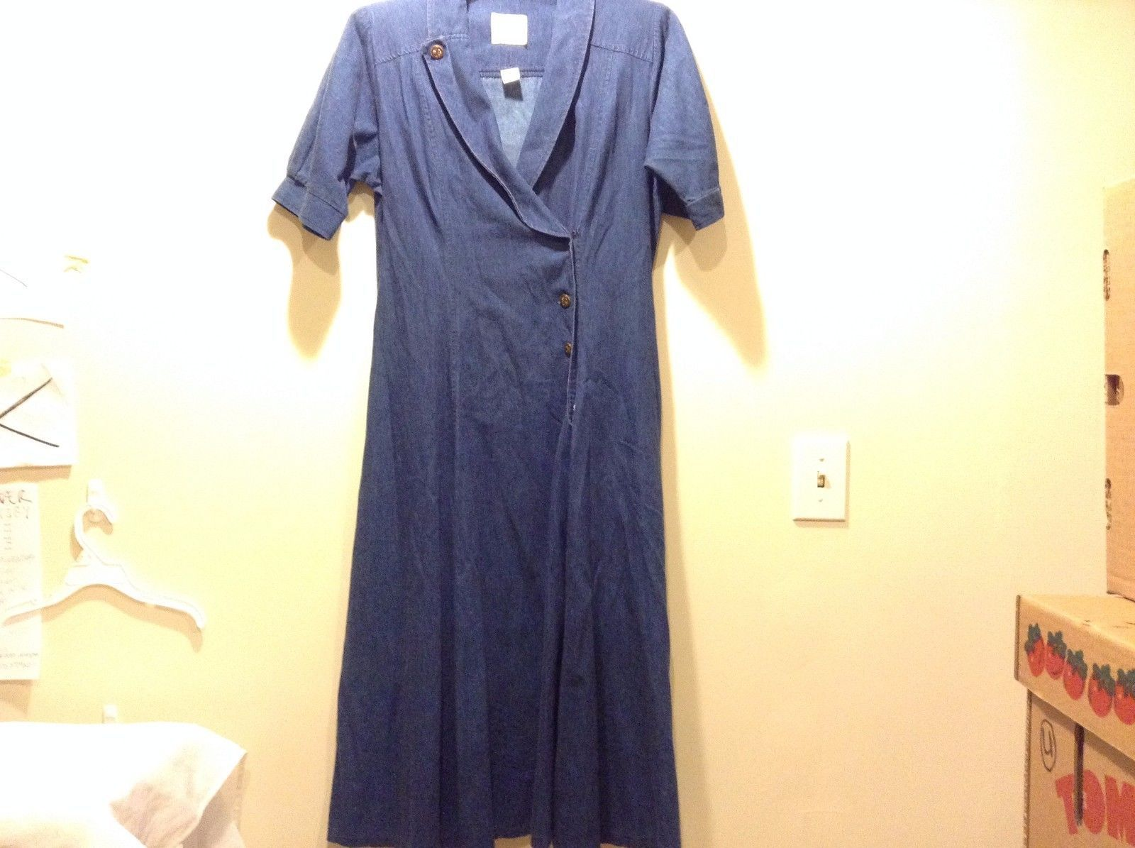 Used Great Condition Sabino Size 12 100% Cotton Buttoned Collared Blue Dress