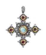 Gerochristo 5145 - Solid Gold, Silver & Stones Medieval Coptic Cross Pen... - $540.00