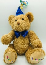 TY Silk Beanie Buddies HAPPY BIRTHDAY the Bear with Blue Bow Hat Plush L... - $9.85