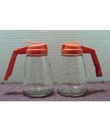 2 Vintage FEDERAL HOUSEWARES Orange Topped Glass SYRUP PITCHERS - $13.00