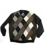 CASTAGNE Size Men's 2XL 100% Cashmere Argyle Sw... - $69.98