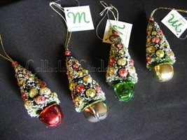 Set Of 4 Assorted Christmas Tree on A Bell Ornaments Holiday Decor - $23.47