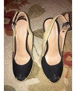 Piperlime Gomax Lacy Black Canvas Side Buckle Espadrille Heel Size 7 - $13.99