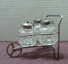 Vintage Pressed Glass S&P Shaker Set Wheelbarrow Cart // 4 Piece Cruet Set - $14.00