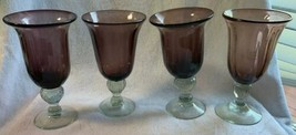 4 Amethyst Glass Water Iced Tea Glasses Goblets Ribbed Inside & Out Ball... - $39.56