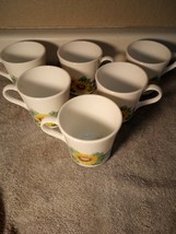 (6)  CORNING COFFEE MUGS / CUPS--SUNFLOWER SUNSATIONS-----FREE SHIP--VGC - $28.97
