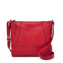 Fossil Rae Crimson Medium Leather/Cotton Interior Zipper Closure Crossbody - $309.99