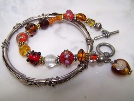 Vtg Pretty Art Glass Bracelet Toggle Clasp + Bangle Articulated Floral B... - $11.87