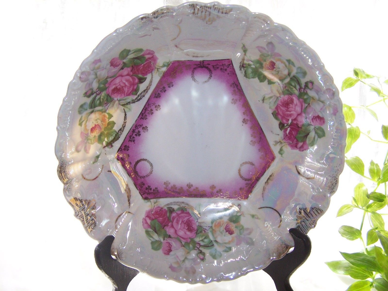 Antique F.B. BAVARIA Serving BOWL Ornate Scalloped ROSES Luster ware Porcelain