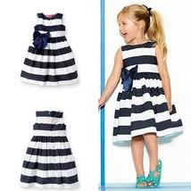 Toddler Kid Girl One Piece Dress Blue Striped Bow Skirts Tutu Dress Sundress