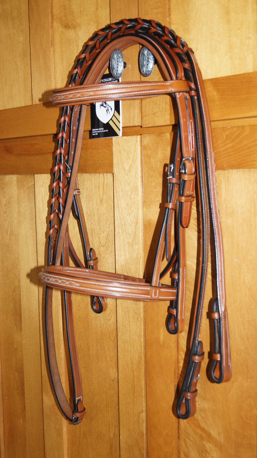 Bobby's Signature COB Sz Lt Brown Fancy Stitch Square Raised Bridle w/Reins