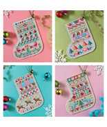 Mini Christmas Stockings cross stitch chart Sat... - $10.80