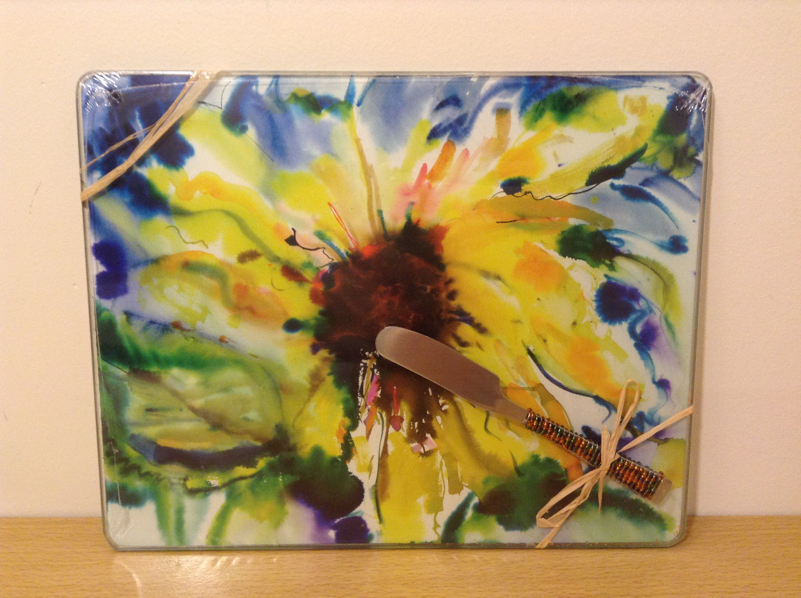 "Designer Linda S.Altshuler Tempered Glass Cheese Board ""Sunflower"" and Spreader"