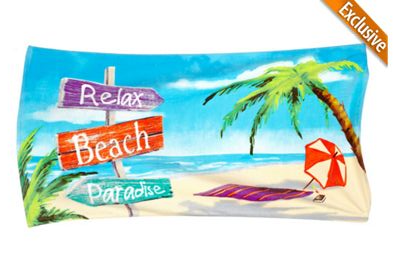 "Beach Towel ""Relax Beach Paradise"" 30 x 60"" Lightweight 100 % Cotton Colorful Re"
