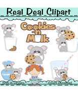 Cookies and Milk Mice Clip Art - $1.25
