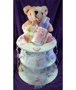 Pink and Purple Teddy Bear Diaper Cake Girl Bab... - $32.00