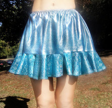Ameynra design light blue skirt, sparkling bi-color, with ruffle. Size M... - $12.00