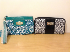 Lot of 2 New Flaunt Black / White Wallet and Teal Wristlet Travel Accessories