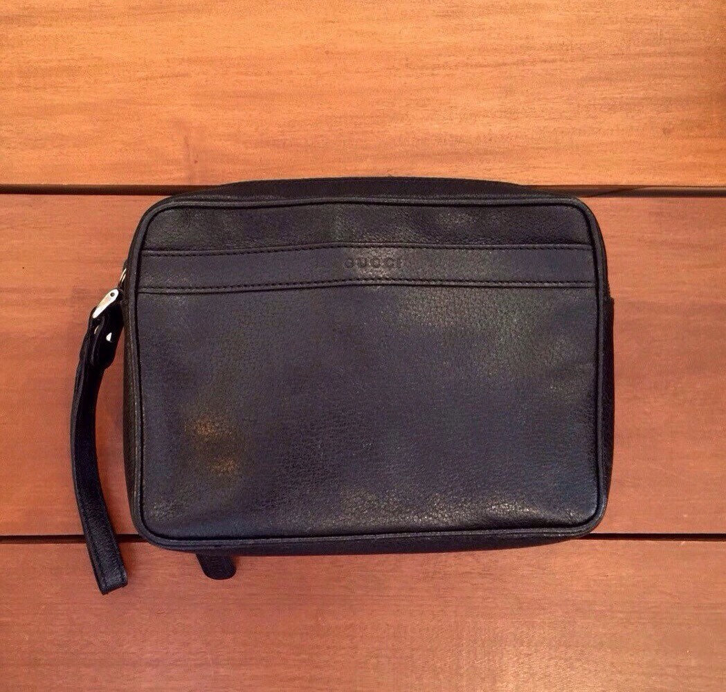 gucci black pigskin leather monogram travel and 50 similar items